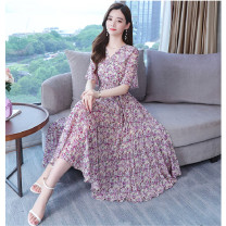 Dress Summer 2021 Purple, yellow, orange S,M,L,XL,2XL,3XL longuette singleton  Short sleeve commute V-neck High waist Decor Socket A-line skirt routine Others 30-34 years old Type A Other / other Korean version Lace up, printed HBSSWPYCZNZ2574877 Chiffon polyester fiber