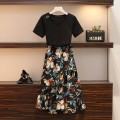 Women's large Summer 2020 black suit  Dress Two piece set commute easy thin Socket Short sleeve Solid color big flower Korean version V-neck routine Polyester cotton others Three dimensional cutting routine Myifan / MI Yifan 25-29 years old Three dimensional decoration Medium length Other 100.00%