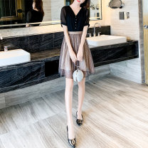 Women's large Summer 2020 Picture color M, l, XL, 2XL, 3XL, 4XL Dress singleton  commute Self cultivation thin Socket Short sleeve Korean version Crew neck polyester Three dimensional cutting routine Myifan / MI Yifan 25-29 years old Bright silk 31% (inclusive) - 50% (inclusive) Middle-skirt