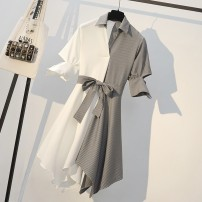 Women's large Summer 2020 Picture color dress Dress singleton  commute easy moderate Socket Short sleeve Korean version stand collar Polyester polyester Collage other Myifan / MI Yifan Asymmetry Medium length Pure e-commerce (online only) Irregular skirt