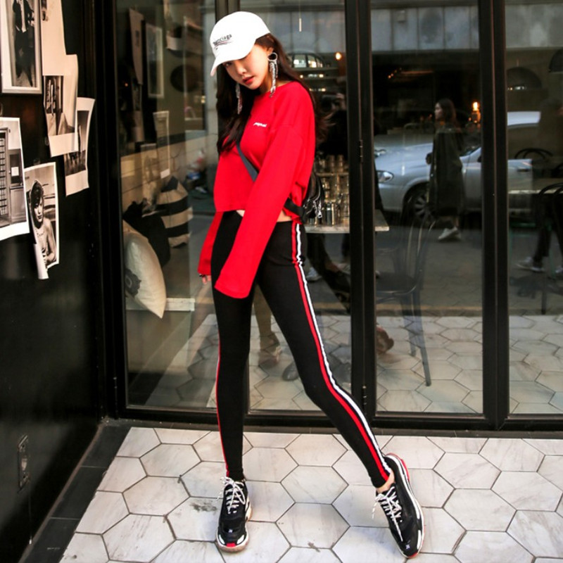 Casual suit Autumn of 2018 Top black pants red S M L 18-25 years old T199 96% and above cotton