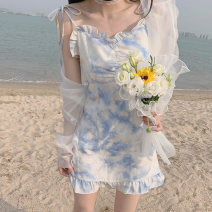 Lace / Chiffon Summer 2021 Blue and white short sleeve top, blue and white regular - short, blue and white Sling - short, blue and white short sleeve dress - long S,M,L,XL Short sleeve commute singleton  One word collar Decor other Q5144 Korean version 30% and below