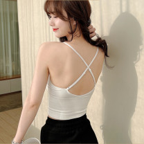 Vest sling Summer 2021 singleton  have cash less than that is registered in the accounts Self cultivation Versatile camisole Solid color 96% and above cotton backless 201g / m ^ 2 (including) - 250G / m ^ 2 (including)