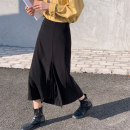 skirt Spring 2021 S,M,L,XL black Mid length dress commute High waist A-line skirt Solid color Type A 18-24 years old 91% (inclusive) - 95% (inclusive) polyester fiber Korean version