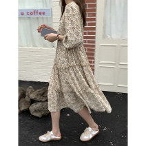 Dress Summer 2021 Purple Decor , Yellow Decor Average size Mid length dress singleton  three quarter sleeve commute V-neck High waist Decor Socket Cake skirt puff sleeve Others 18-24 years old Type A Korean version Lace up, printed XLX21009 More than 95% other polyester fiber