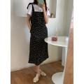 Dress Summer 2021 black M, L Mid length dress singleton  Sleeveless commute High waist Broken flowers other camisole 18-24 years old Type H Korean version XT21H1015 More than 95% other polyester fiber