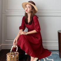 Dress Summer 2020 Red [temperament first love skirt / early autumn salt can sweet dress dress / light cooked wind French minority knee over skirt] S M L XL 2XL Mid length dress singleton  commute V-neck High waist Solid color Socket A-line skirt routine 25-29 years old Type A Ibaka Korean version