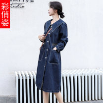 Dress Autumn 2020 Denim blue M L XL Middle-skirt singleton  Long sleeves commute Polo collar middle-waisted Solid color Single breasted Big swing routine 25-29 years old Type X Colorful appearance literature Pleated button CQZ20Q3136B More than 95% other Other 100% Pure e-commerce (online only)