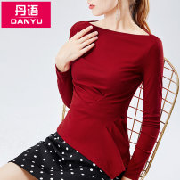 T-shirt Cherry red black Khaki S M L XL 2XL Autumn of 2019 Long sleeves One word collar Self cultivation Regular routine commute cotton 86% (inclusive) -95% (inclusive) 25-29 years old Korean version classic Solid color Dan language DY29539 fold Cotton 90.7% polyurethane elastic fiber (spandex) 9.3%