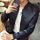 leather clothing Happy time Youth fashion Blue, khaki, coffee, black M. L, XL, 2XL, 3XL, 4XL (175-190 Jin), collect baby priority delivery routine Imitation leather clothes Baseball collar Slim fit zipper spring leisure time youth tide lwyp819 Rib hem Side seam pocket Zipper decoration