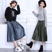 skirt Autumn of 2018 Average size [80-135 kg] 1178 black 1178 blue 1178 green 1178 Brown longuette Versatile High waist Pleated skirt Solid color Type A one thousand one hundred and seventy-eight