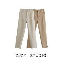 Casual pants Khaki, beige XS,S,M,L Spring 2021 trousers High waist