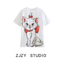 T-shirt white S,M,L Spring 2021 Short sleeve easy have cash less than that is registered in the accounts cotton 86% (inclusive) -95% (inclusive)