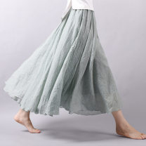 skirt Summer of 2018 The skirt is 75 cm long, 85 cm long and 95 cm long longuette Retro High waist Pleated skirt Solid color Type A 25-29 years old JN1725 91% (inclusive) - 95% (inclusive) other Rice other Ruffles, folds 201g / m ^ 2 (including) - 250G / m ^ 2 (including)