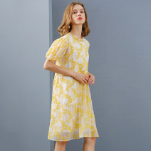 Dress Spring 2021 yellow S M L XL longuette singleton  Short sleeve commute Lotus leaf collar Loose waist Decor Socket A-line skirt puff sleeve 25-29 years old Type A Xiangsi'er printing More than 95% other other Other 100% Pure e-commerce (online only)
