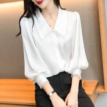 shirt White black M L XL 2XL Spring 2021 polyester fiber 96% and above Long sleeves commute Regular Doll Collar Single row multi button puff sleeve Solid color 35-39 years old Straight cylinder Modern cat M3006-2021103 Hollow fold Polyester 100% Pure e-commerce (online only) Chiffon