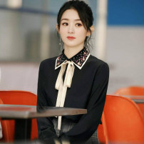 shirt Black apricot S M L XL Spring 2021 other 96% and above Long sleeves commute Regular square neck Single row multi button routine Solid color 40-49 years old Straight cylinder Modern cat M3006-2021157 Bowknot rivet tie bead Other 100% Pure e-commerce (online only) Chiffon