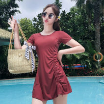 one piece  Didya M L XL XXL Skirt one piece With chest pad without steel support nylon Summer 2020 female Short sleeve Casual swimsuit