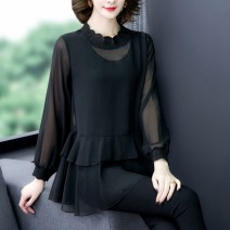 T-shirt Black, red, blue, purple L,XL,2XL,3XL,4XL,5XL Spring 2021 Long sleeves stand collar easy Medium length routine commute other 71% (inclusive) - 85% (inclusive) 40-49 years old Korean version originality Solid color Mesh, Ruffle