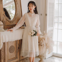 Dress Spring 2020 Apricot S,M,L Middle-skirt singleton  Long sleeves commute Crew neck High waist Solid color Socket A-line skirt routine Others 25-29 years old Type A Korean version Lace 31% (inclusive) - 50% (inclusive) Lace cotton