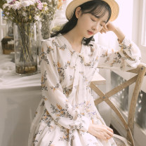 Dress Spring 2020 Apricot S,M,L,XL Mid length dress singleton  Long sleeves Sweet other High waist Broken flowers Socket routine Others 18-24 years old Type A bow Chiffon Mori