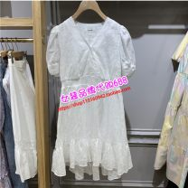 Dress Summer 2021 white 155/80A,160/84A,165/88A,170/92A longuette singleton  Short sleeve commute V-neck middle-waisted Solid color Socket A-line skirt routine Type A E·LAND EEOWB25W9M cotton