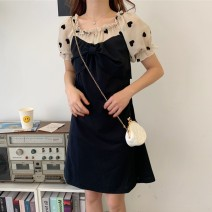 Women's large Summer 2021 Black, the collection baby joins the shopping cart to deliver goods first!! Dress singleton  commute easy moderate Conjoined Short sleeve shape Korean version square neck Medium length Three dimensional cutting puff sleeve Three dimensional decoration Medium length bow