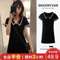 Women's large Summer 2021 Little black dress with baby collar Vest / sling singleton  Sweet easy moderate Socket Short sleeve Solid color Polo collar Medium length Three dimensional cutting puff sleeve 4-2X1734 Shu Xinyuan 18-24 years old Lace stitching Short skirt Other polyester 95% 5% straps