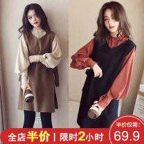 Women's large Spring 2020 Red blue apricot skirt Two piece set Sweet easy thickening Socket Long sleeves Floral dot stripe check solid One word collar Medium length Three dimensional cutting puff sleeve F03S8226 Shu Xinyuan 18-24 years old Gouhua hollow longuette Other polyester 95% 5% trousers