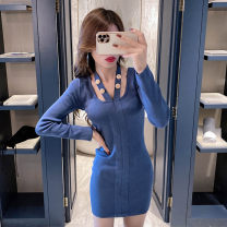 Dress Autumn 2020 Blue, black Average size Short skirt singleton  Long sleeves commute square neck High waist Solid color Socket Pencil skirt routine Hanging neck style 18-24 years old Type H Other / other Korean version Hollowed out, stitched, wavy New autumn and winter knitting cotton