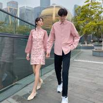 Dress Autumn 2020 Women's skirt, men's shirt, black trousers, men's suit (shirt + black trousers) S,M,L,XL,2XL,3XL Middle-skirt singleton  Long sleeves Sweet stand collar middle-waisted Decor routine 18-24 years old Type H Other / other 81% (inclusive) - 90% (inclusive) cotton