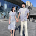 Dress Summer 2021 Women's dress, men's shirt, men's trousers, men's white with short sleeves S,M,L,XL,2XL,3XL Middle-skirt singleton  Short sleeve commute square neck middle-waisted lattice zipper routine Others Type H Other / other Korean version Zipper, split 91% (inclusive) - 95% (inclusive) other