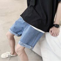Jeans Fashion City Others M,L,XL,2XL blue routine Micro bomb Regular denim two point two five Pant Other leisure Cotton 100% summer youth Medium low back Loose straight tube Exquisite Korean style 2020 Little straight foot zipper washing printing No iron treatment cotton