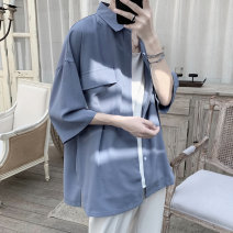 shirt Youth fashion Others M,L,XL,2XL White, black, green, blue routine Pointed collar (regular) Short sleeve easy Other leisure summer teenagers tide 2021 Solid color Color woven fabric No iron treatment cotton Easy to wear
