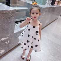 Dress white female Mikir / mikir 90cm 100cm 110cm 120cm 130cm Other 100% summer Korean version Skirt / vest Dot other A-line skirt X0040 Class A Summer 2021 12 months, 18 months, 2 years old, 3 years old, 4 years old, 5 years old, 6 years old Chinese Mainland Jiangsu Province