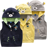 Vest male 90cm 100cm 110cm 120cm 130cm Bright bear baby spring and autumn routine Official pictures zipper leisure time cotton Cartoon animation Cotton 95% polyurethane elastic fiber (spandex) 5% They were 2 years old, 3 years old, 4 years old, 5 years old, 6 years old, 7 years old and 8 years old