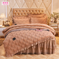 Bedding Set / four piece set / multi piece set Others Quilting Solid color 133x72 Music Lion Pavilion Others 4 pieces other Bedskirt bedspread Qualified products European style Thermal storage