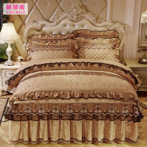 Bedding Set / four piece set / multi piece set Polyester (polyester fiber) Quilting Solid color 128x68 Music Lion Pavilion Polyester (polyester fiber) 4 pieces 40 Bedskirt bedspread Qualified products European style other Reactive Print  1/4 Thermal storage velvet