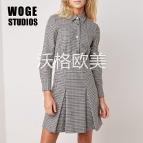 Dress Winter of 2019 houndstooth  1,2,3 Middle-skirt singleton  Long sleeves commute square neck High waist houndstooth  Single breasted A-line skirt shirt sleeve Others Type A Printing, buttons, stitching, pleating MFPRO00650 31% (inclusive) - 50% (inclusive) wool
