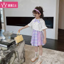 suit Princess Yuanyuan violet 110cm 120cm 130cm 140cm 150cm 160cm female summer college Short sleeve + skirt 2 pieces Thin money There are models in the real shooting Single breasted nothing Solid color other Class B Other 100% Summer 2021