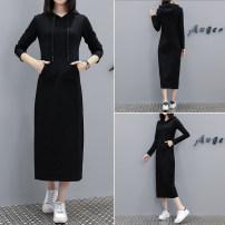 Dress Autumn 2020 black M,L,XL,2XL,3XL,4XL longuette singleton  Long sleeves commute Hood Loose waist Solid color Socket routine 25-29 years old Type H Korean version 91% (inclusive) - 95% (inclusive) cotton