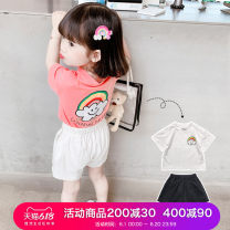 suit Little elk Tang Pink white 90cm 100cm 110cm 120cm 130cm 140cm female summer Korean version Short sleeve + pants 2 pieces routine There are models in the real shooting Socket nothing Cartoon animation other XLXP2693-1 Class B Other 100% Summer 2021