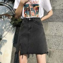 skirt Summer 2020 S 〈 90-100kg 〉, m 〈 100-110kg 〉, l 〈 110-120kg 〉, XL 〈 120-135kg 〉, 2XL 〈 135-150kg 〉, 3XL 〈 150-165kg 〉, 4XL 〈 165-175kg 〉, 5XL 〈 175-200kg 〉 Blue, black and gray Short skirt commute High waist A-line skirt Solid color Type A 18-24 years old Korean version