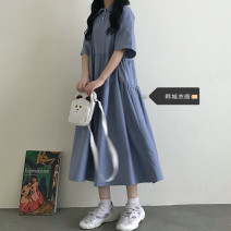 Dress Summer 2021 blue S,M,L,XL Mid length dress singleton  Short sleeve Sweet Doll Collar Loose waist Solid color A-line skirt routine 18-24 years old Other / other 81% (inclusive) - 90% (inclusive) college