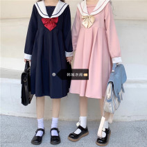 Dress Autumn 2020 Navy, pink S,M,L,XL Mid length dress singleton  Long sleeves Sweet Admiral High waist Solid color Socket A-line skirt routine 18-24 years old Type A Other / other college