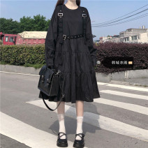 Dress Spring 2021 black S,M,L,XL Mid length dress singleton  Long sleeves Sweet Crew neck High waist Solid color Socket A-line skirt routine 18-24 years old Other / other Splicing 51% (inclusive) - 70% (inclusive) polyester fiber solar system