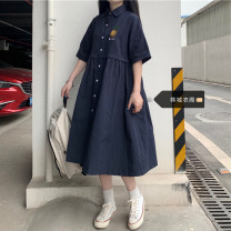 Dress Summer 2021 Navy Blue S,M,L,XL Mid length dress singleton  Short sleeve Sweet Polo collar Loose waist Solid color Single breasted A-line skirt routine 18-24 years old Type A Other / other Button 51% (inclusive) - 70% (inclusive) other cotton college