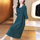 Dress Summer 2021 Dark green and jujube red S M L XL 2XL 3XL 4XL longuette singleton  three quarter sleeve commute Crew neck Loose waist Solid color Socket A-line skirt routine Others 30-34 years old Kevenor K-LYQ2010 More than 95% polyester fiber Polyester 100%