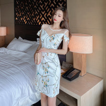 Dress Summer 2021 Decor S,M,L Short skirt singleton  Sweet V-neck High waist Decor zipper A-line skirt Others 18-24 years old Type A printing 91% (inclusive) - 95% (inclusive) other polyester fiber