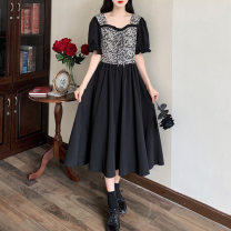 Dress Summer 2021 Black [French girl] M [80-95 Jin], l [95-115 Jin], XL [115-135 Jin], 2XL [135-150 Jin], 3XL [150-170 Jin], 4XL [170-200 Jin], 5XL [200-210 Jin] longuette singleton  Short sleeve commute square neck High waist Broken flowers Socket A-line skirt puff sleeve Others Type A Other / other